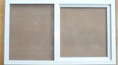 Verschlossener Schieberahmen als Insektenschutz für Velux und Roto Dachfenster in weiß